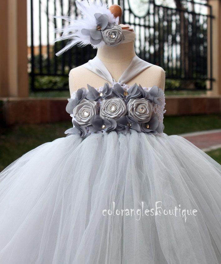 Gris flor chica Tutu vestido bebé vestido de niño cumpleaños vestido ...