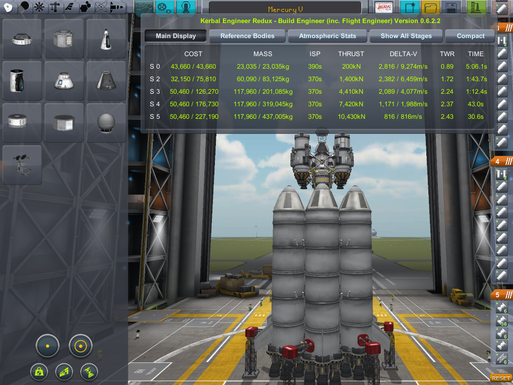 Mercury-V asparagus design and Kerbal Engineer in the VAB  Stages 3