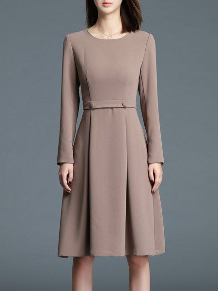 e5a456532815 Shop Midi Dresses - Khaki Plain Elegant A-line Midi Dress online. Discover  unique designers fashion at StyleWe.com.