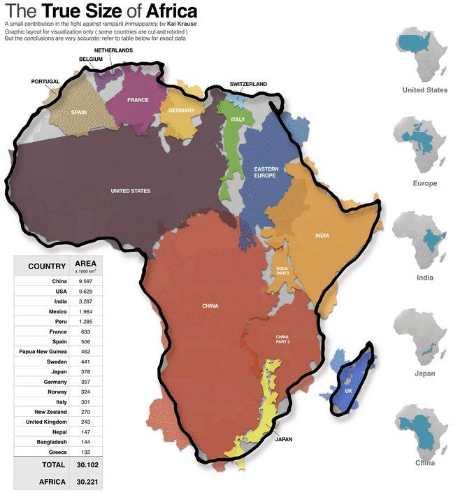 This Graphic Of Africau0027s Actual Size Will Blow Your Mind Geography - best of world map with africa in center