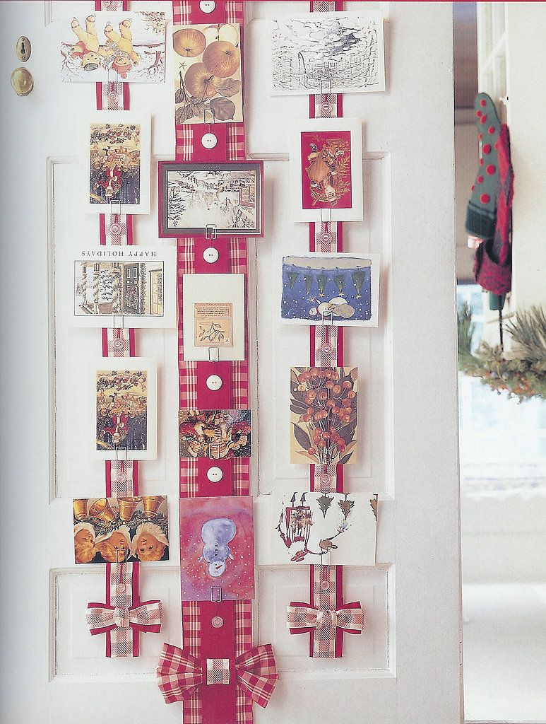 Ribbon Christmas Card Holder Wide Ribbon Buttons And Clips