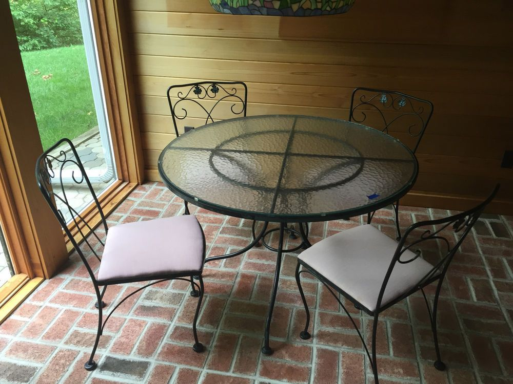 Wrought Iron Patio Table And 4 Chairs wrought iron patio dining set table 4 chairs meadowcraft | patio