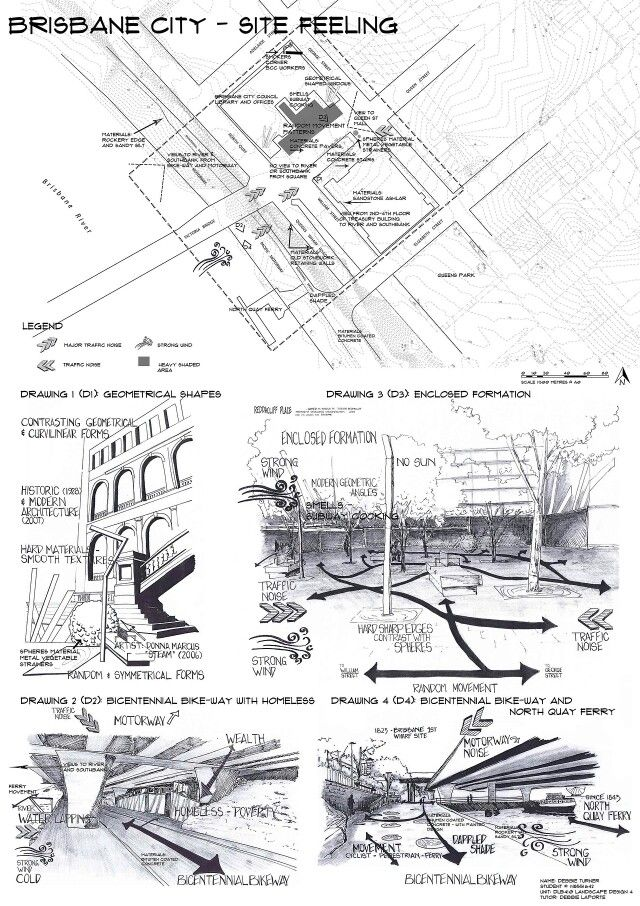 Site Analysis 1of4 Brisbane CBD Hand drawn by Debbie