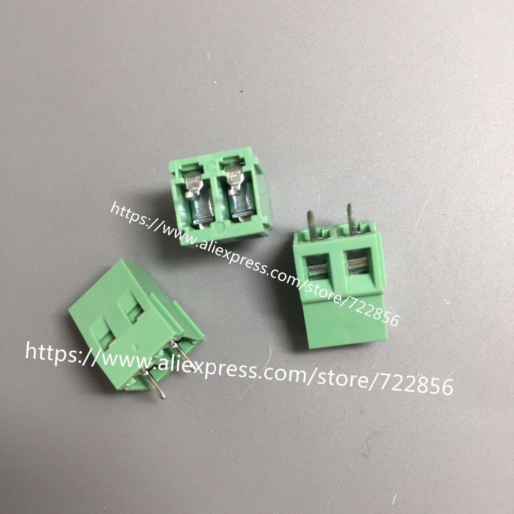 20 pz/lotto Vite PCB Connettore della Morsettiera KF128-pitch: 5.0 MM/0.2 inch Verde 5mm KF128 2 Pins