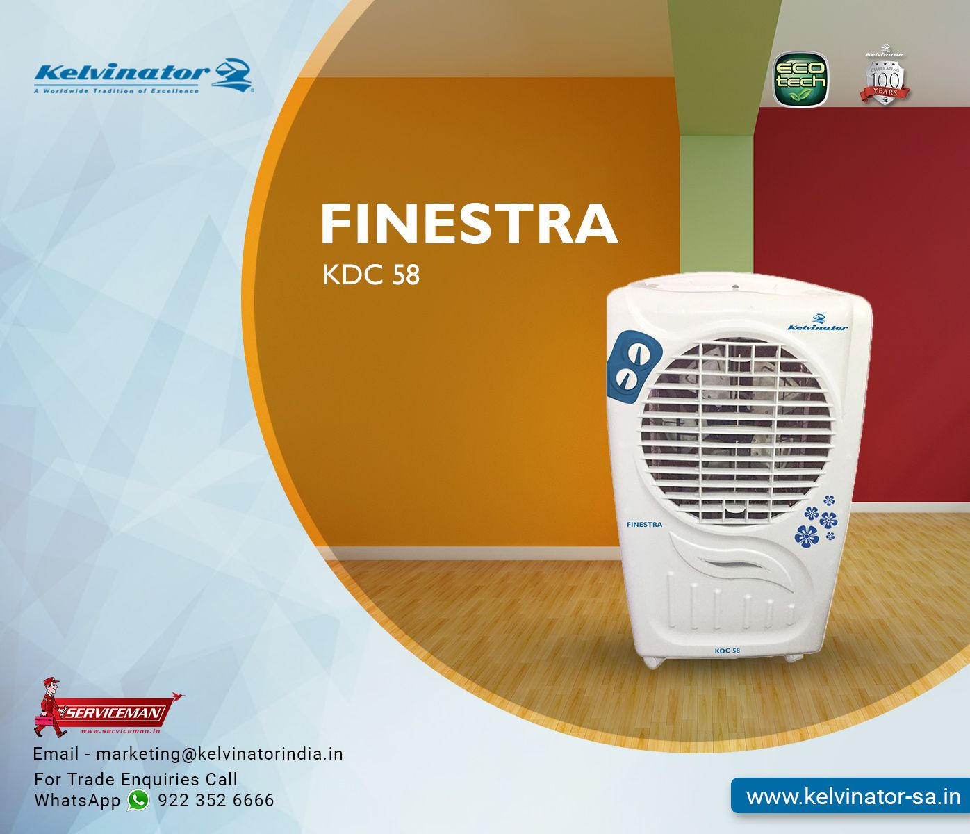 Kelvinator's Finestra Air Cooler comes with Large water