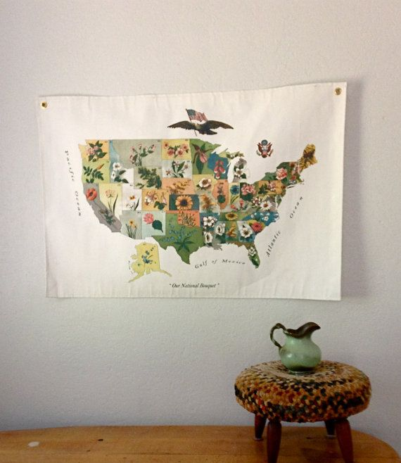 Beautiful Map Of US State Flowers Perfect Addition To The - Us wall maps for sale
