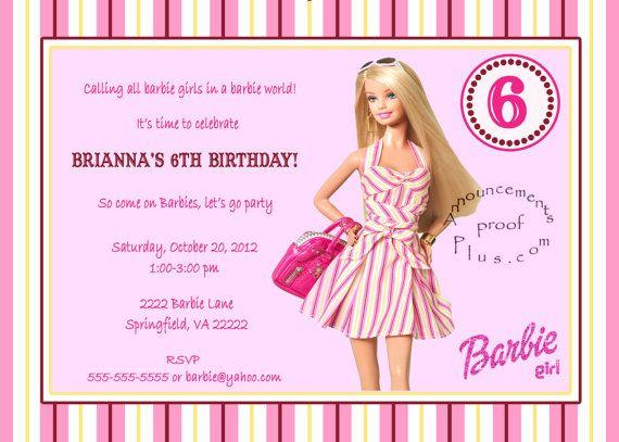 5x7 Barbie milestone Birthday Invitation 3 designs available by – 6th Birthday Party Invitation Wording