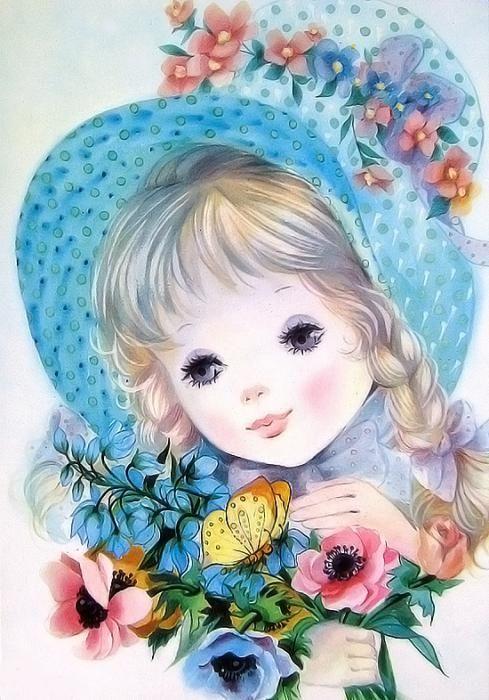 Открытка девочка с цветами рисунок