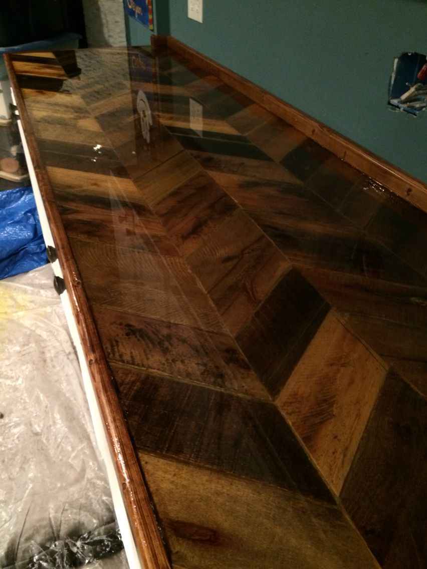 Pallet Countertop With Epoxy Finish Basement Kitchen