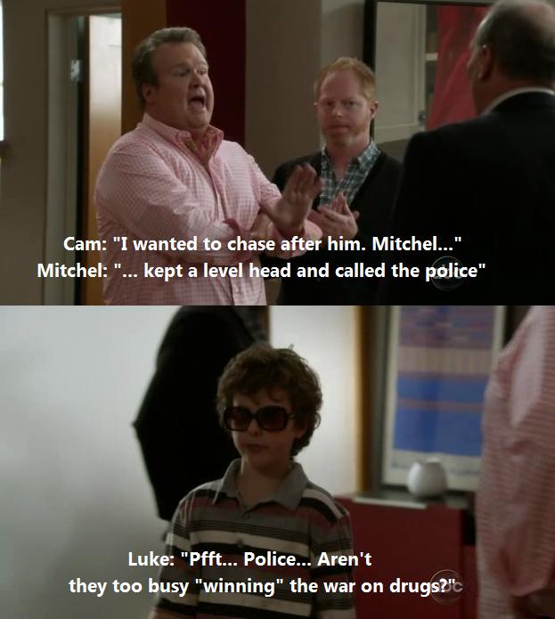 Luke from Modern Family on the police. Classic! (s03e05