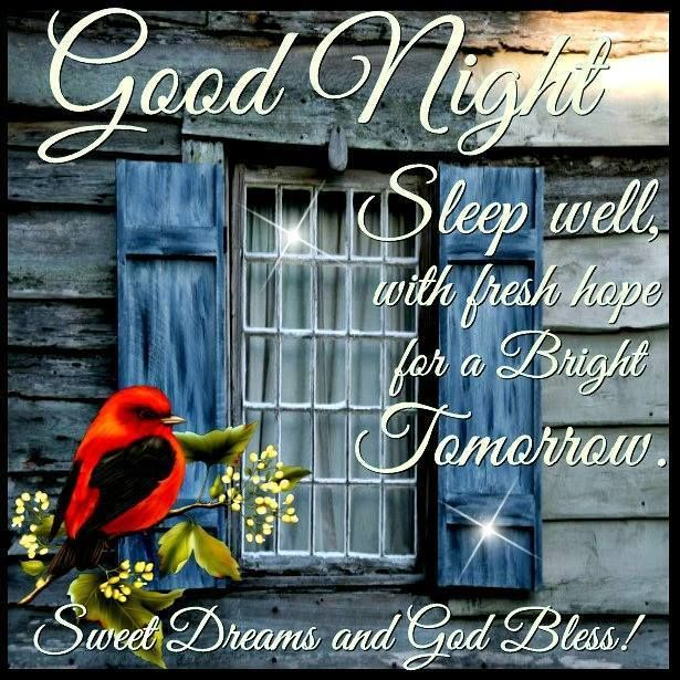 Good Night Everyone, God Bless You!!Love you Hugs coming