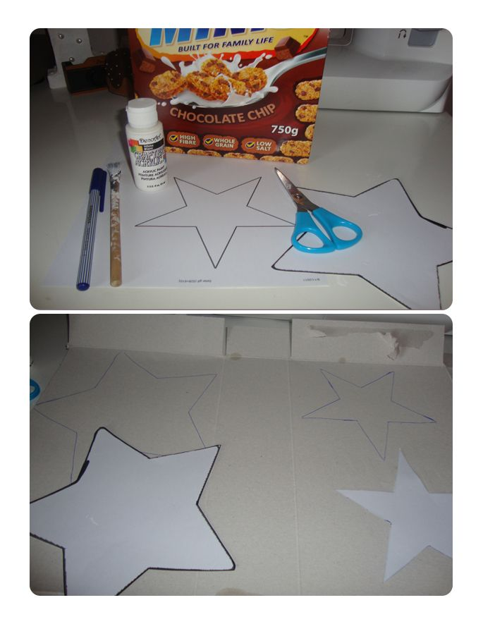 i came across a tutorial for these cardboard stars on the fantastic grey luster girls blog - Deco Shabby Chic Blog