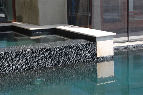 Charcoal Black Standing Pebble Tile Mosaic Pool Tile Pool Tile