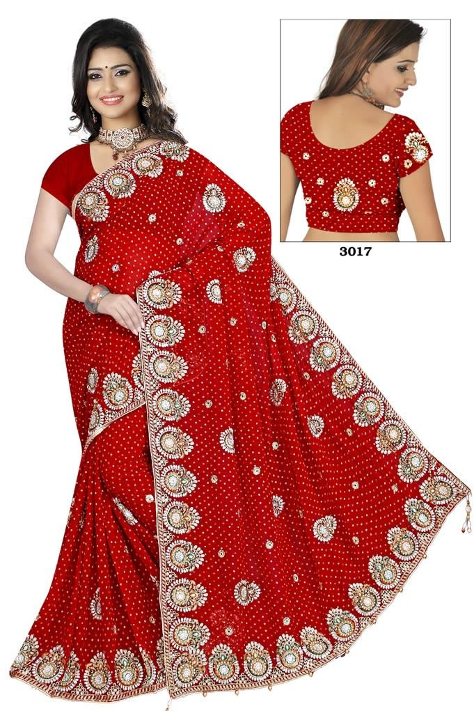2dea7d968f buy saree online Red Colour Viscose Embroidery and Stone Work Bridal  Wedding Saree Buy Saree online