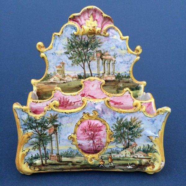 Italian Maiolica Pottery Letter Rack by Minghetti of Bologna (Italy)