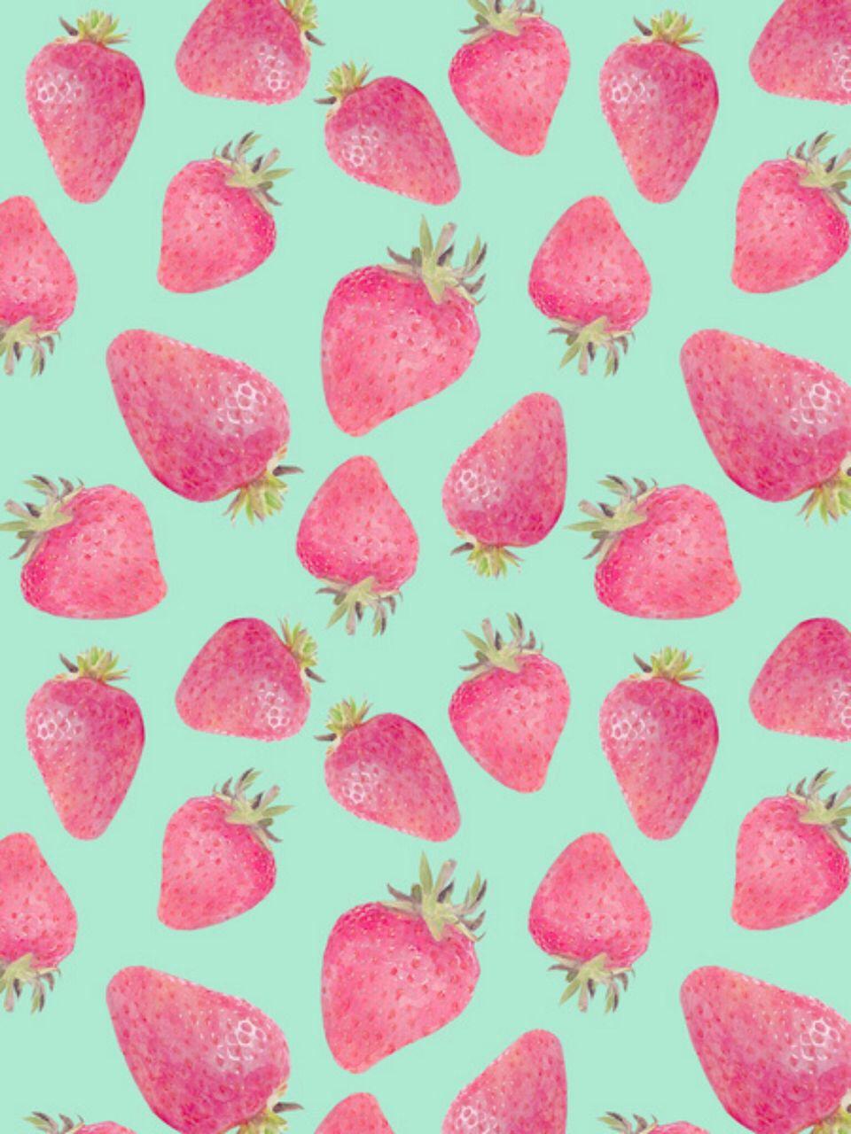 Strawberries Background Strawberry art, Prints