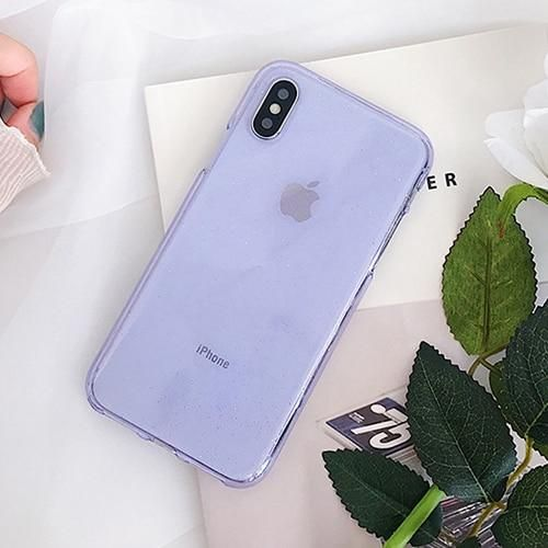 Clear Bling Glitter Soft Phone Case For iPhone XS XR XS Max X 6 6S 7 8 Plus Fashion TPU Bling Powder Back Cover Cases - Purple / For iPhone 6 6S