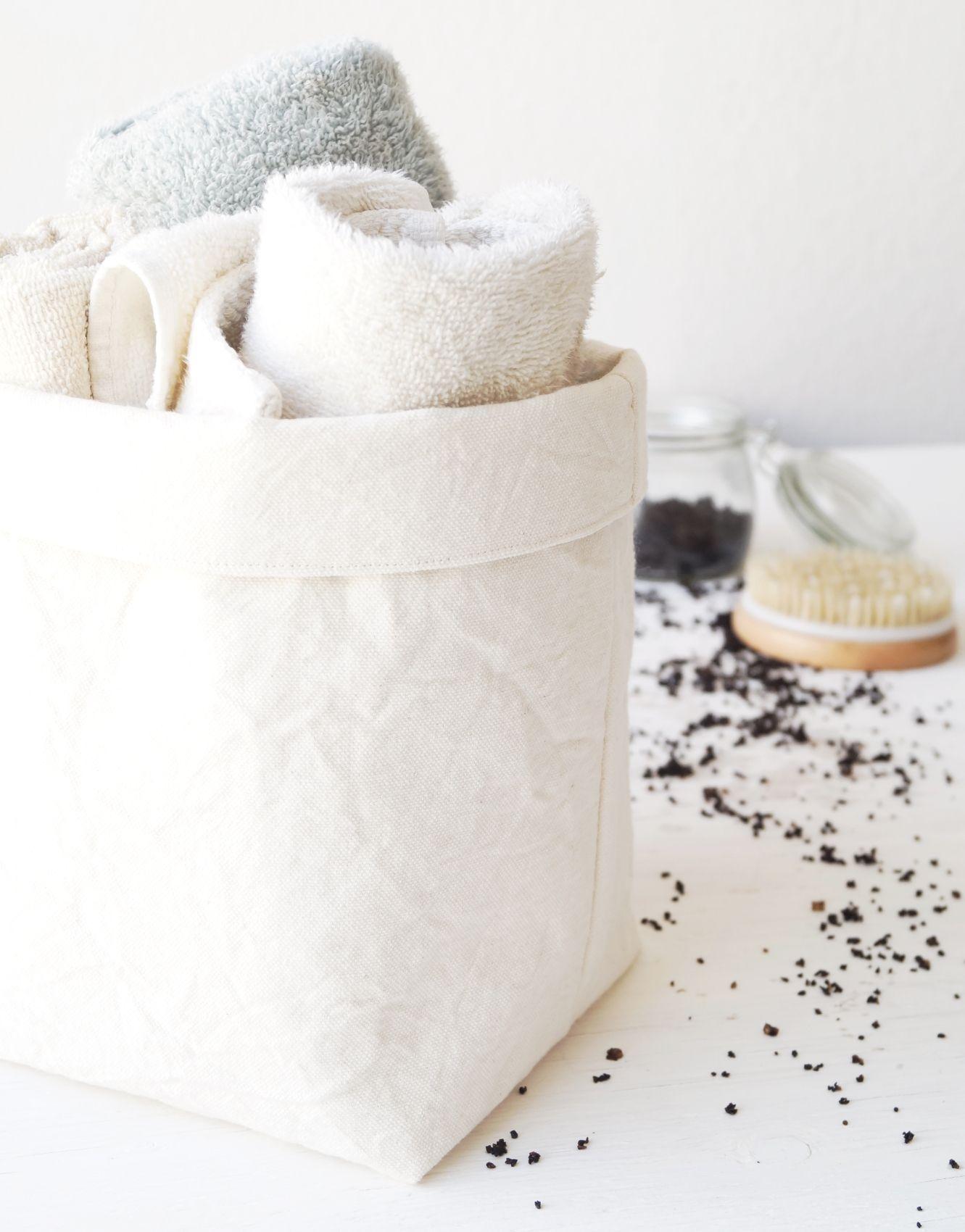 Medium storage basket. Bathroom towel holder. Fabric container ...