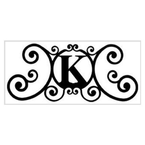 wrought iron with letter k
