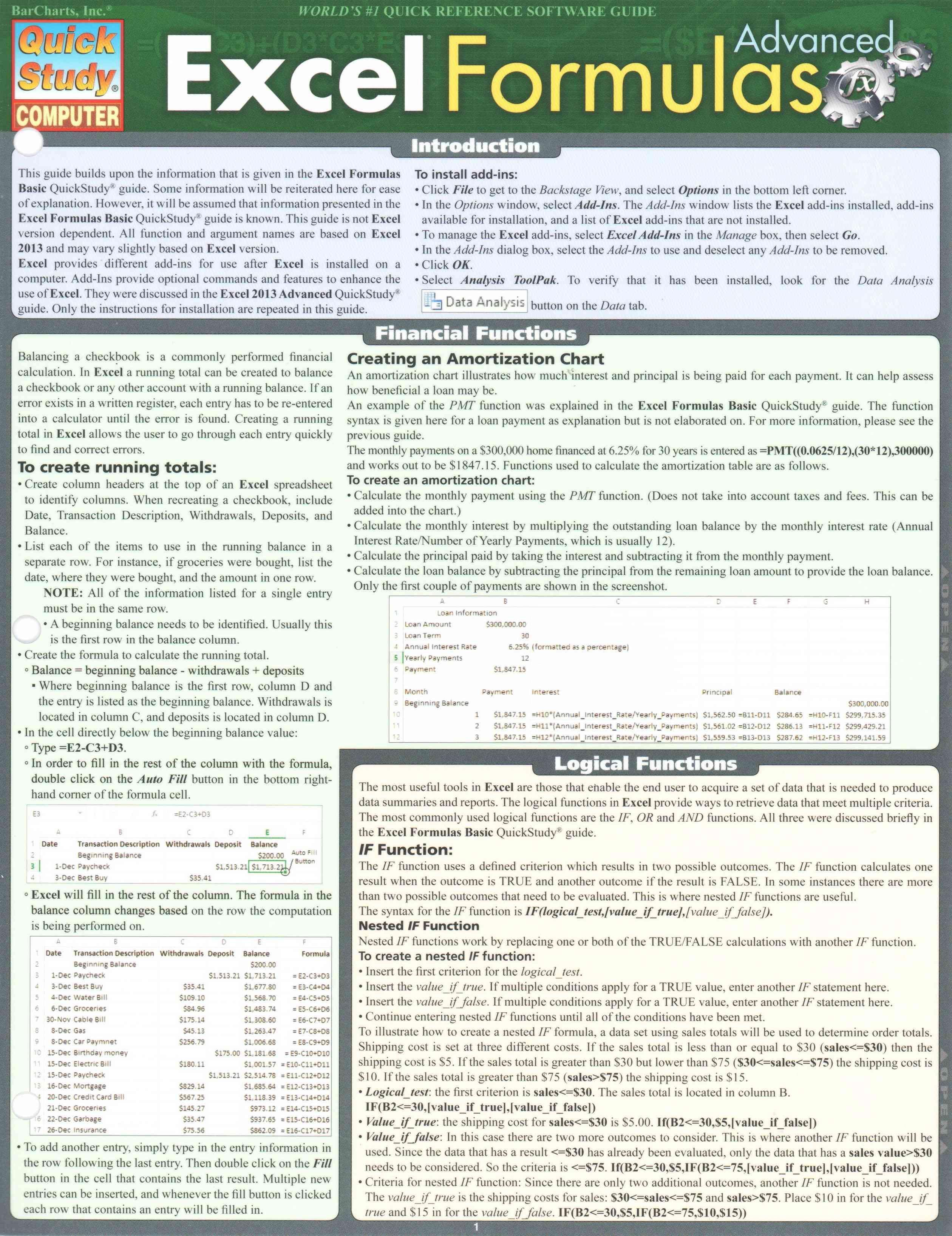 Excel Formulas Advanced Cards   Overstock.com Shopping   The ...