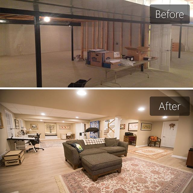 Before And After Of A Bright And Open Concept Basement We