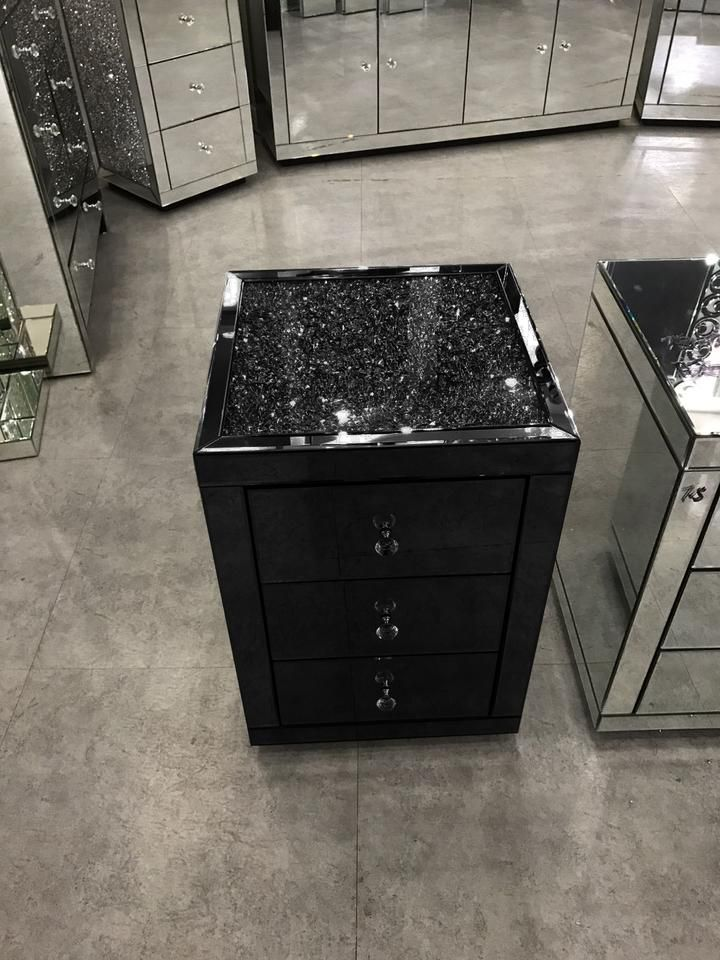 Best Black Mirror Crush 3 Drawer Bedside Mirrored Furniture 400 x 300