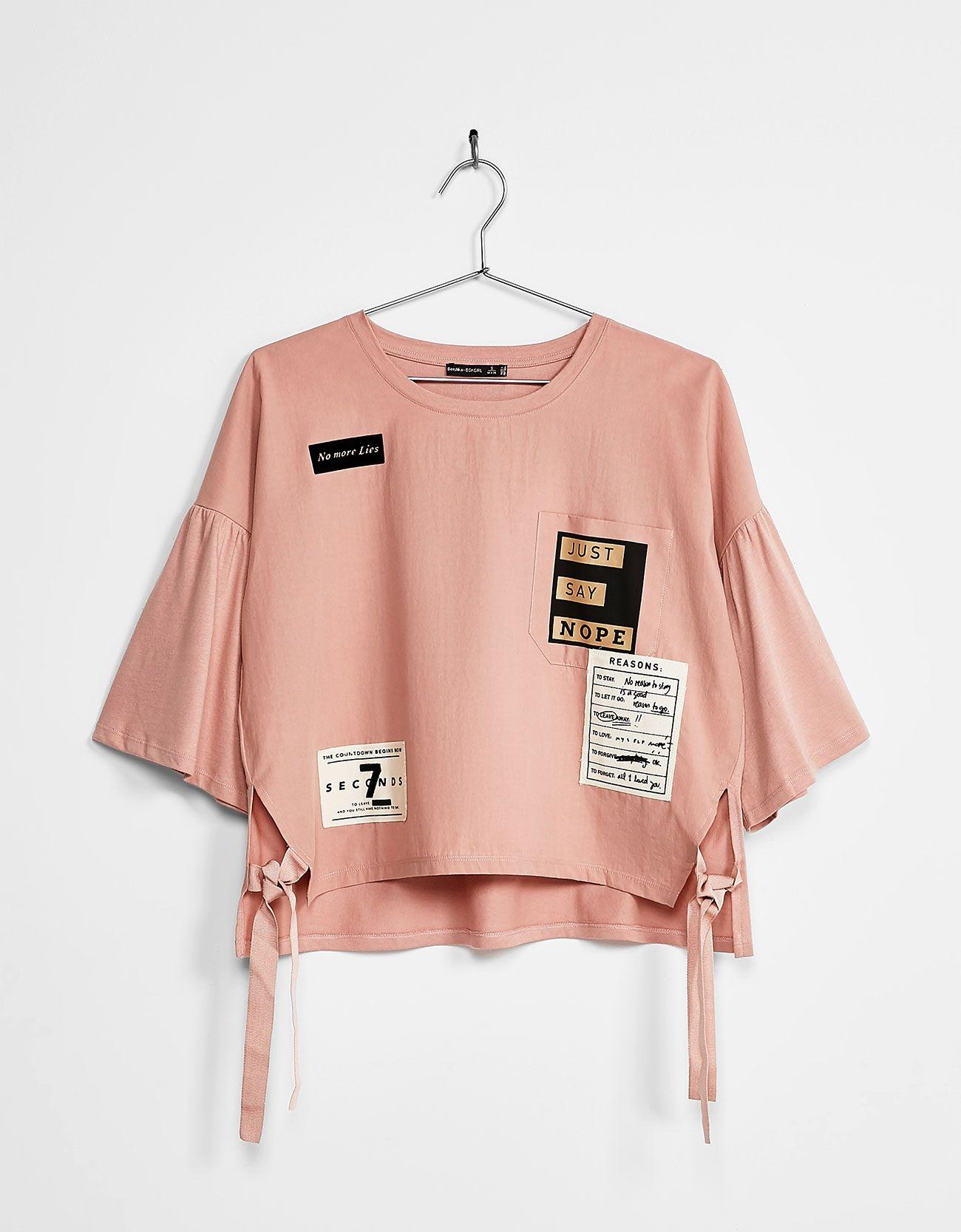 49f06e0911b4 Camiseta manga campana parches | Busos para dama | Ropa coreana ...