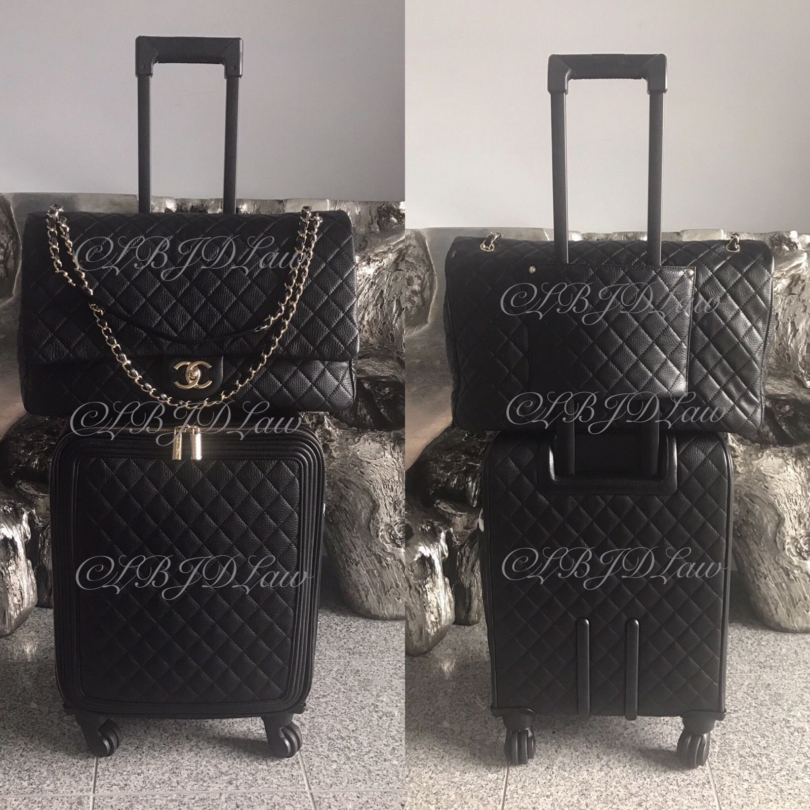 48fcc99cc13b NWT CHANEL BLACK QUILTED CALF CAVIAR LEATHER TROLLEY SPINNER SUITCASE 21