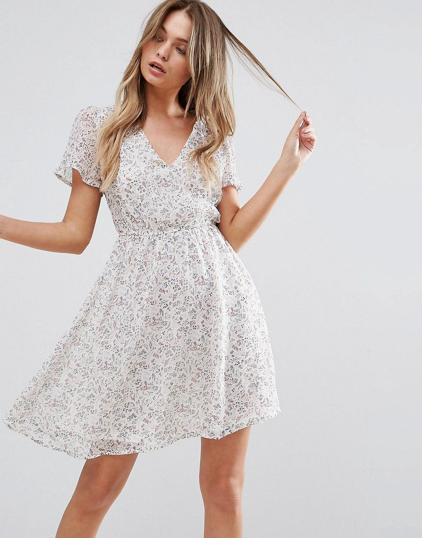New look flare sleeve skater dress cream cut shorts and products