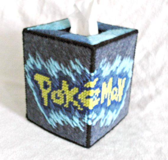 Pokemon pokeballs tissue box cover plastic canvas for Tissue box cover craft
