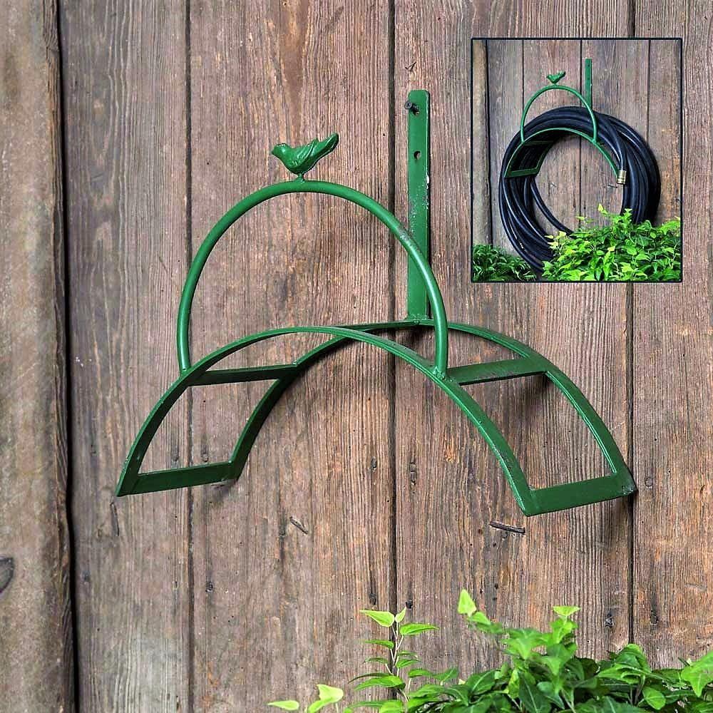 Songbird Vintage Green Garden Hose Reel Rack Garden Hose Holder Hose Reel Metal Garden Hose