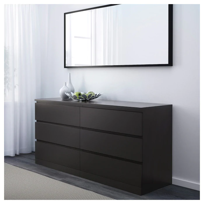 Malm Chest Of 6 Drawers Black Brown Ikea In 2020 Black Bedroom Furniture Black Dresser Bedroom Wide Chest Of Drawers