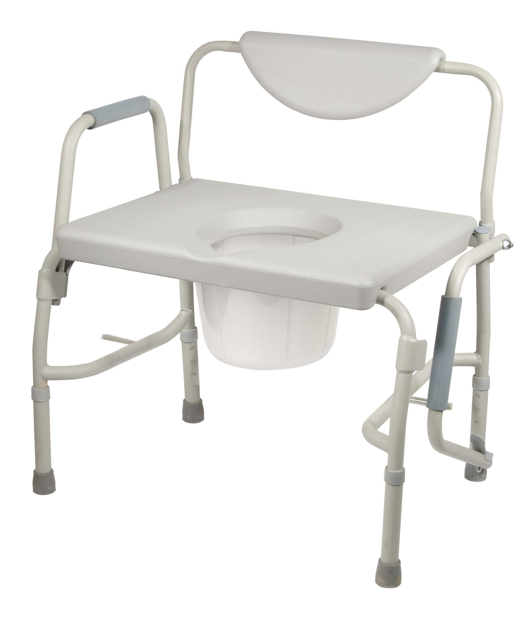White Oversized Bedside Commode Chair With Bariatric Drop Arm