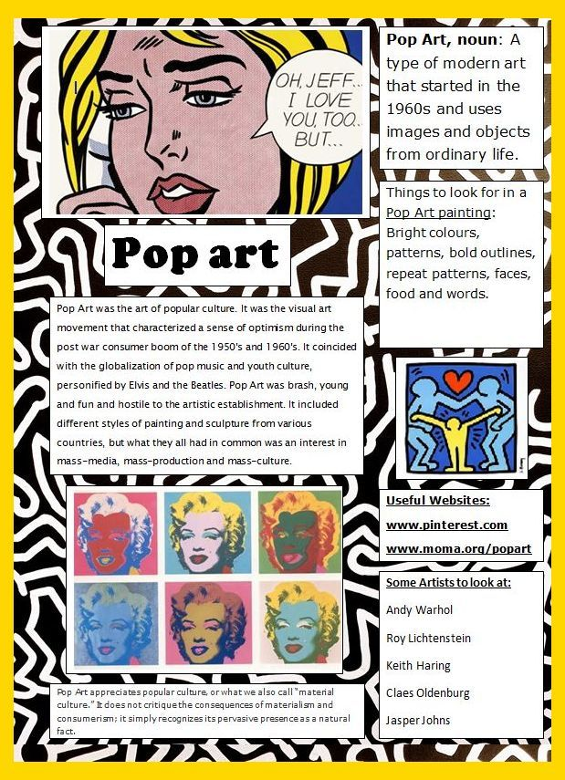 Art Ed Central Loves This Pop Art Poster Designed For Students As A Quick Reference And Intro Pop Art Posters Art Poster Design Art Handouts