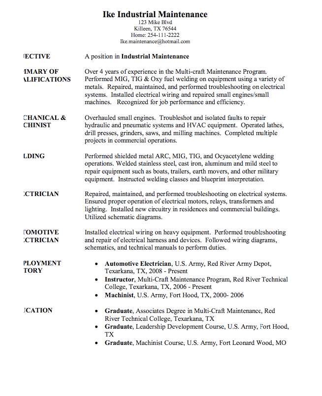 Industrial Maintenance Sample Resume Examples Resume Cv