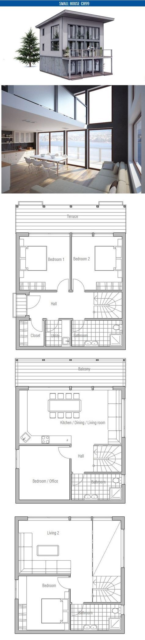Small House Plan With Four Bedrooms Simple Lines And Shapes