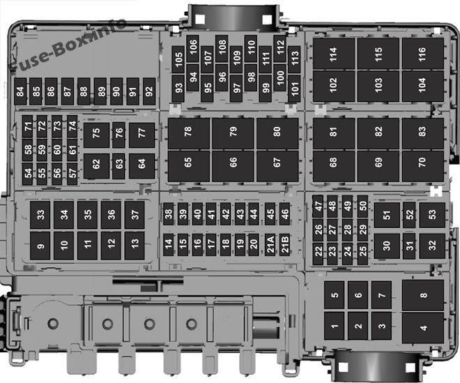 Underhood fuse box diagram Ford F150 (2016, 2017