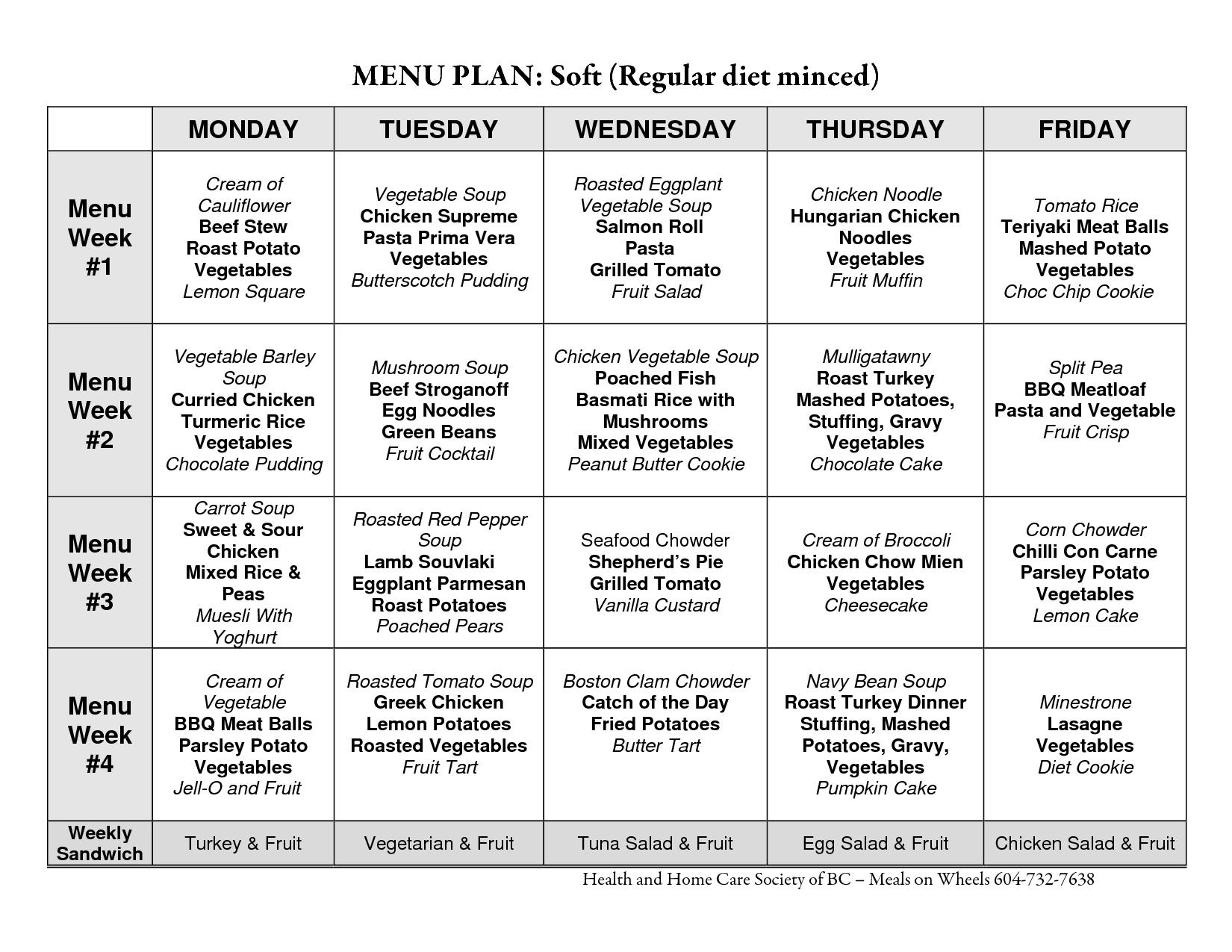 Healthy Eating Menu Plan Diet meal plans