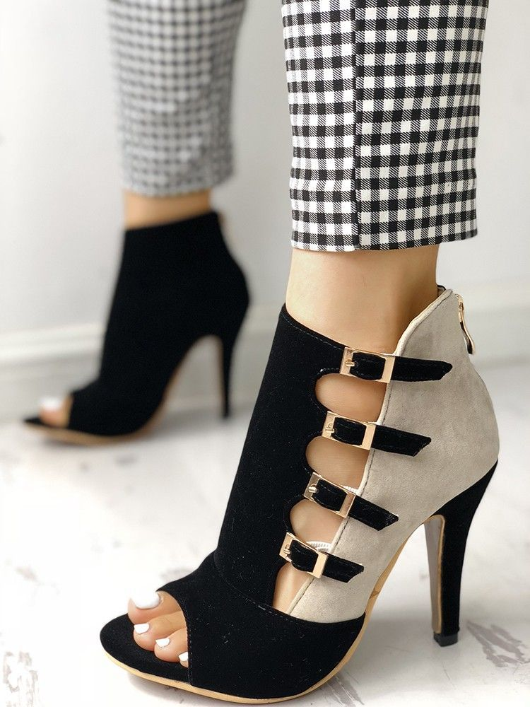 8cf947ef223 Colorblock Splicing Hollow Out Buckled Thin Heels in 2018