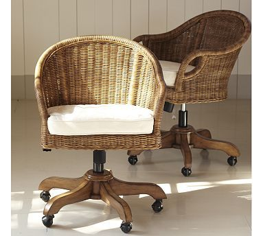 Wingate Rattan Swivel Desk Chair