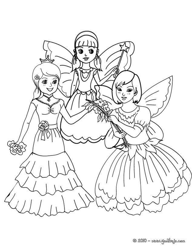 Dibujos para colorear hadas y princesas - es.hellokids.com | Para ...