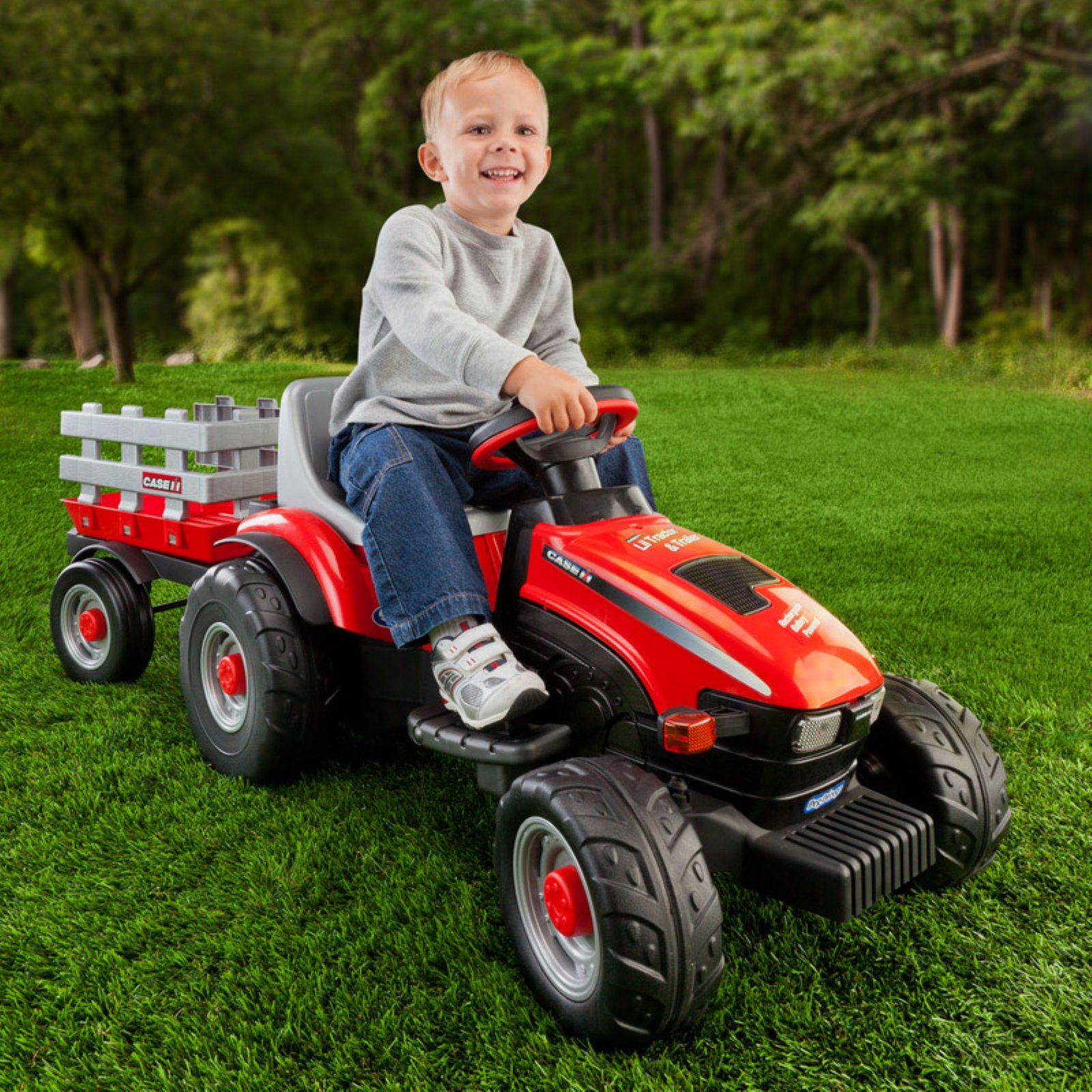 Peg Perego Case Ih Lil Tractor Trailer Battery Ed Riding Toy