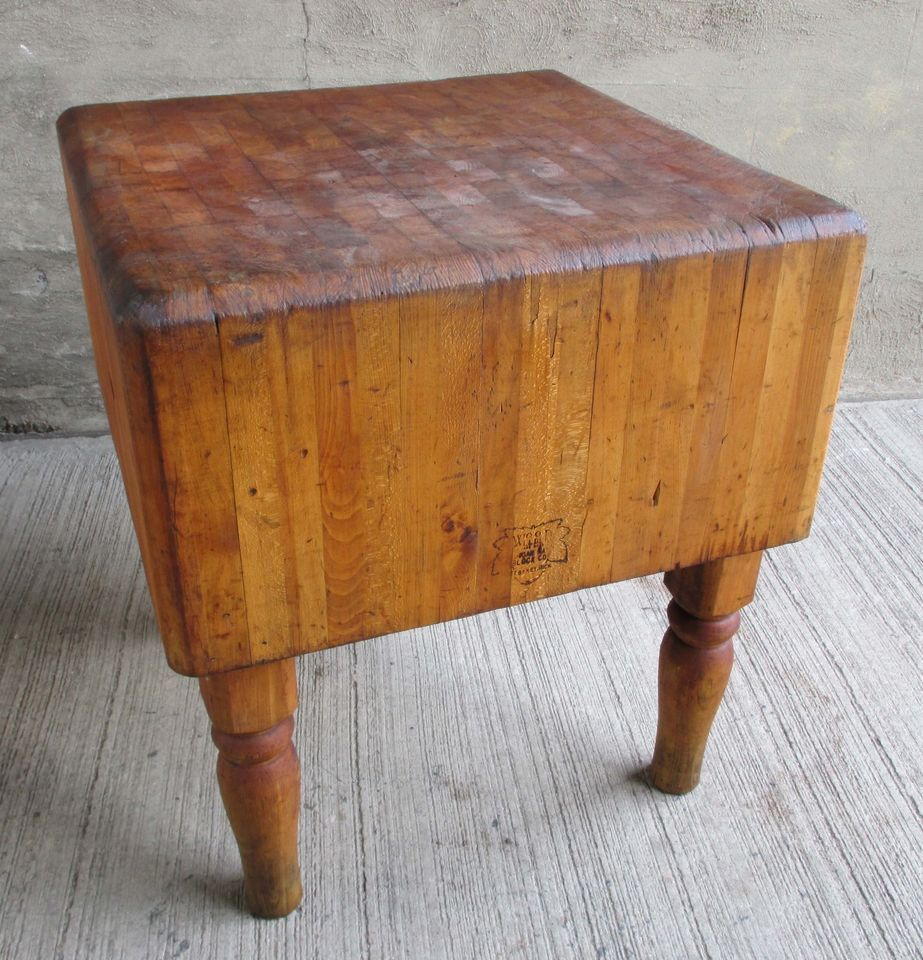 Vintage Solid Maple Butcher Block Table-Wood Welded-Michigan Maple ...
