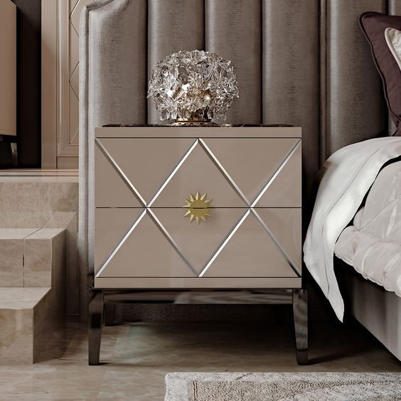 Art Deco Inspired Italian Designer Lacquered Bedside Cabinet   Juliettes Interiors is part of Art deco dresser - Art Deco Inspired Italian Designer Lacquered Bedside Cabinet at Juliettes Interiors