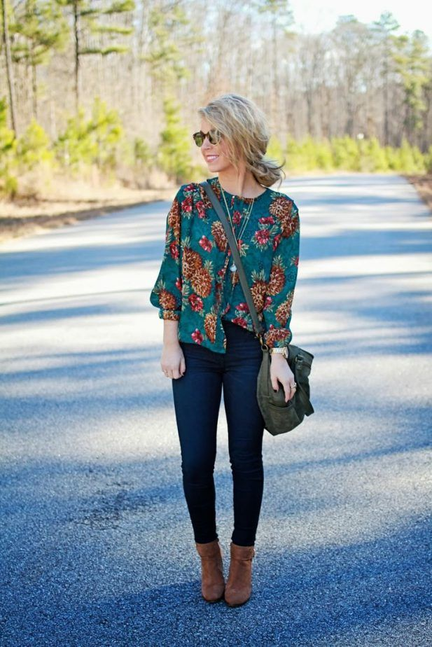 Cute Floral Fall Top 2017 Street Style