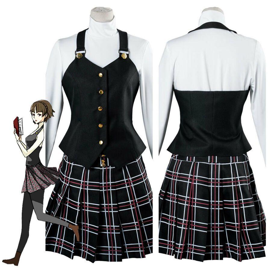Persona 5 P5 Makoto Niijima Queen Winter Cosplay Costume School Uniform Dress