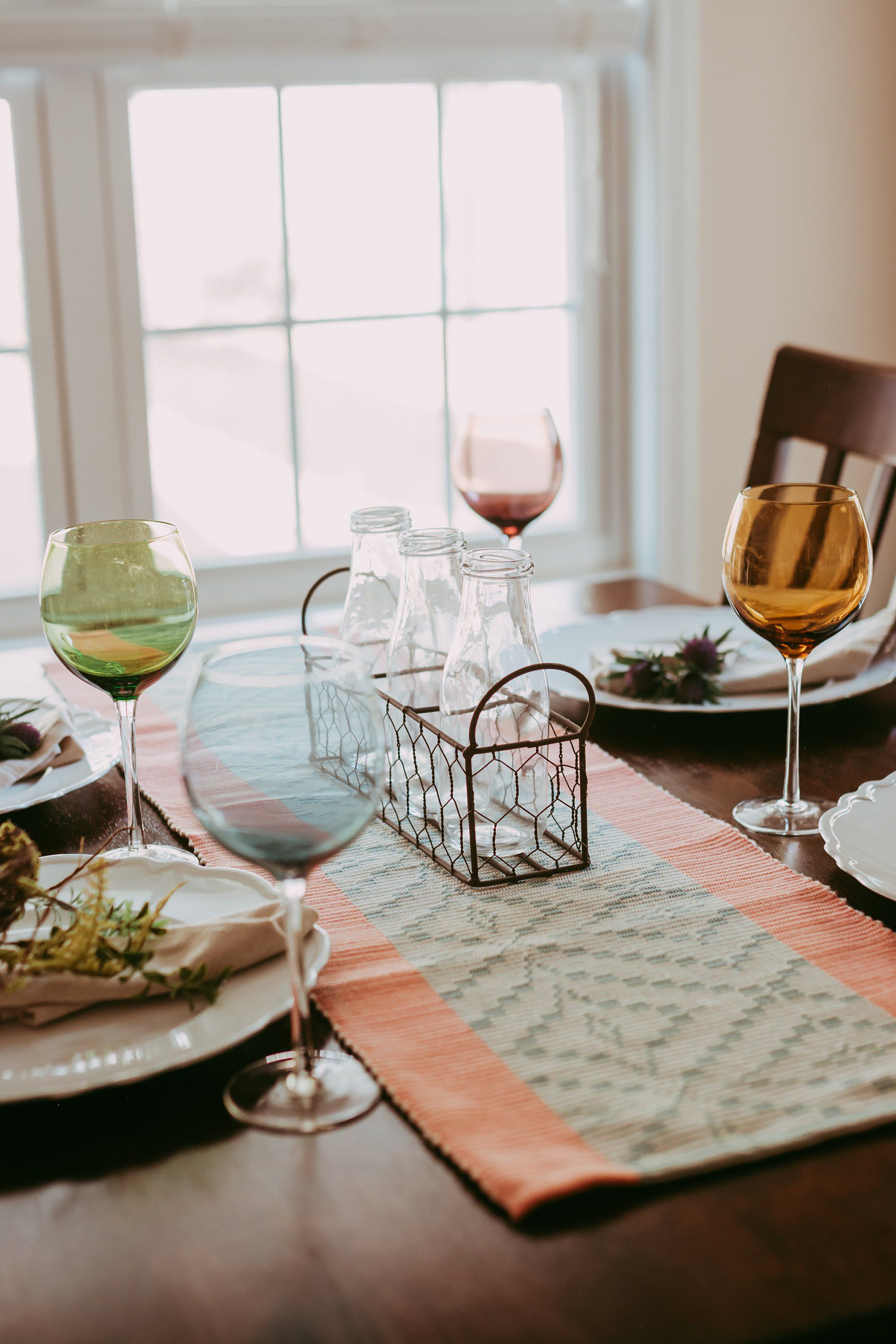 Farmhouse table runner and placemat set country