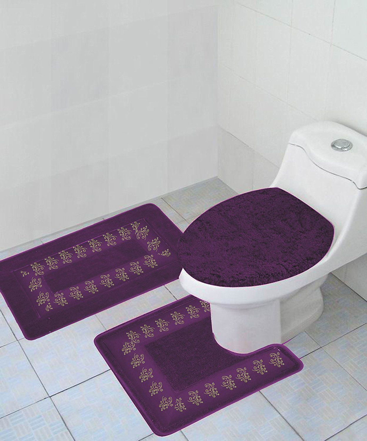 3 Pc 5 Purple Design Bathroom Bath Mat Set Includes 1 Contour Lid Toilet Cover Ultra Absorbent With Anti Slip Backings Walmart Com In 2021 Blue Rugs