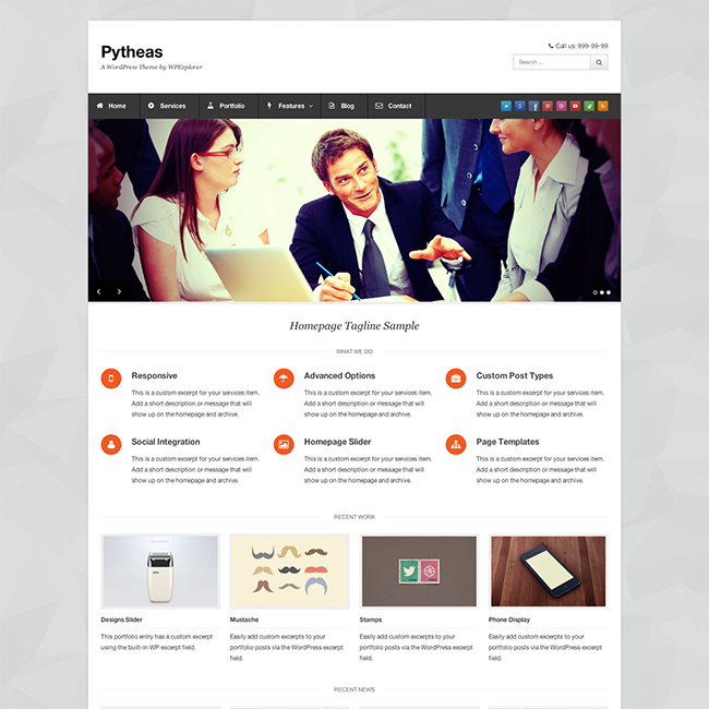 Pytheas free responsive corporateportfolio wordpress theme pytheas is a free wordpress theme for corporate and portfolio sites created by wpexplorer accmission