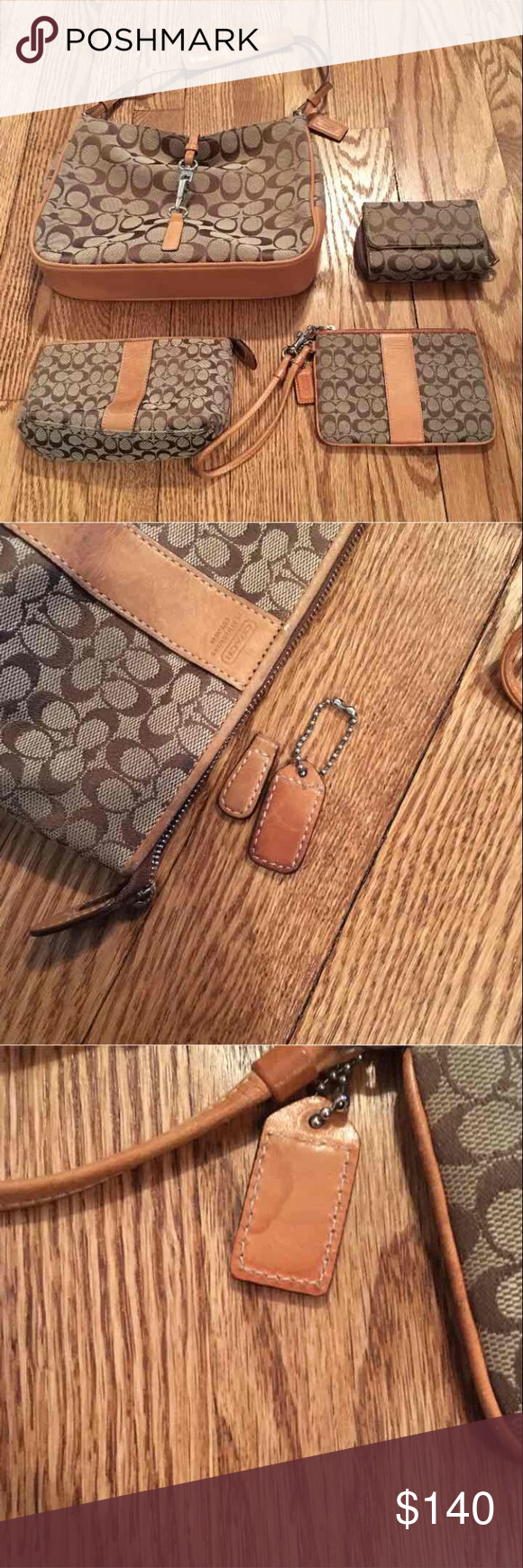 Coach 4 piece  bundle Wallet- lightly used  Purse -maybe used once  Wristlet- see pic has water mark on tab otherwise brand new  Makeup case-missing pull tab see pic (I have the tab it's not attached) Coach Bags Shoulder Bags